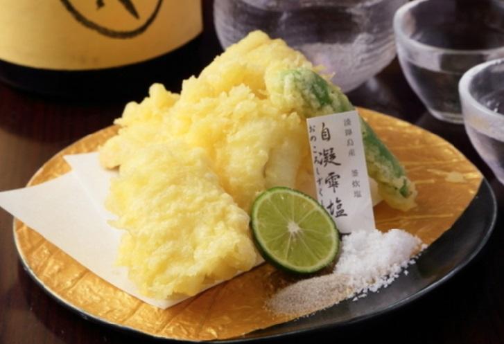 淡路島の塩と穴子の天ぷら